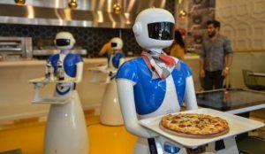 AI robots serving pizza