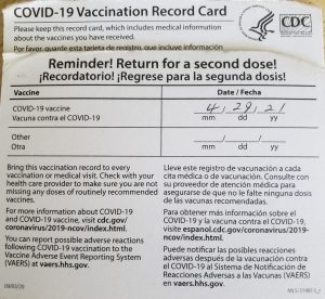 Covid vaccine card